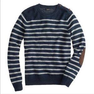 J.Crew Rustic Elbow Patch Merino Wool Sweater.
